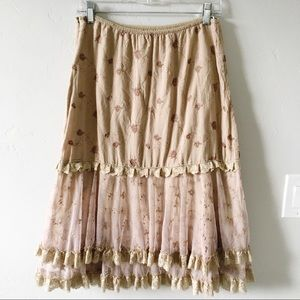 Anthropologie Boho Lacey Embroidered Skirt